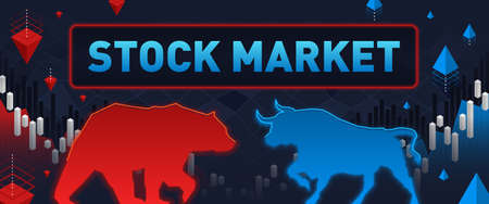 This colorful illustration depicts a red bear and a blue bull , these are market participants who play to raise or lower exchange rates or securities 矢量图像