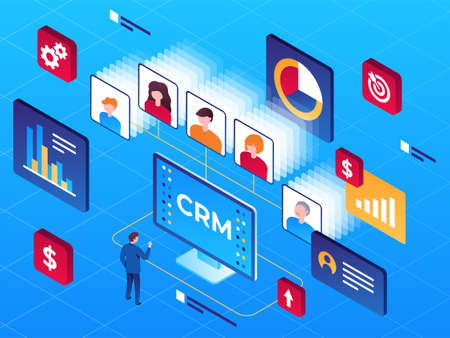 Vector isometric illustration customer relationship management and buyers