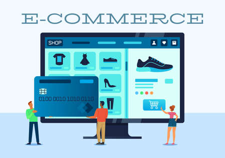 Vector illustration of e-commerce using networks, funny people shop online with a credit card Ilustracja