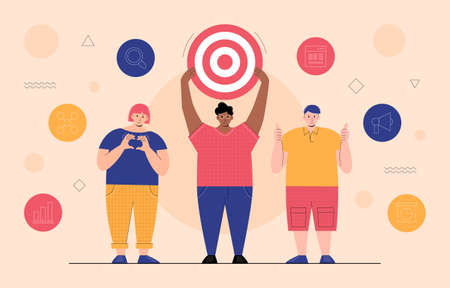 This colorful illustration depicts funny young people, they are the target audience to which the advertising message will go or promotional events Illustration