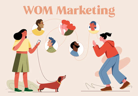 This colorful illustration symbolically depicts word of mouth marketing WOM marketing , the oral transmission of information from one person to another Ilustracja
