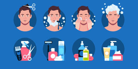 Flat vector illustration of personal care products for men