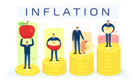 Vector illustration of the inflation process and services after a certain time than before Иллюстрация