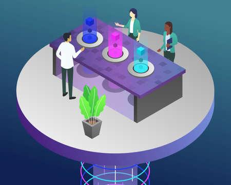 Vector isometric illustration of a modern work environment Ilustracja