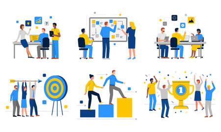 Teamwork illustrations set in flat vector, career growth, success
