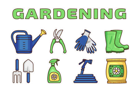 Gardening icons set in flat vector, and more Ilustracja