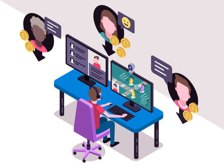 Isometric vector illustration of a streamer playing a video game