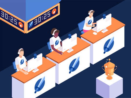Vector isometric illustration of eSports competitions. Vector illustration with a golden cup in the centre of the hall Ilustracja