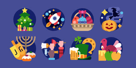 Holidays cute illustrations in flat vector and more