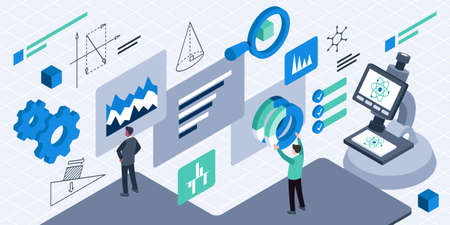Isometric vector illustration of R and D management Ilustracja
