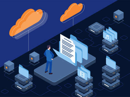 Isometric vector illustration of cloud storage in which the digital data