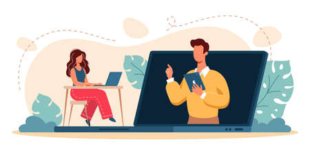Vector illustration of remote learning during the COVID-19 pandemic