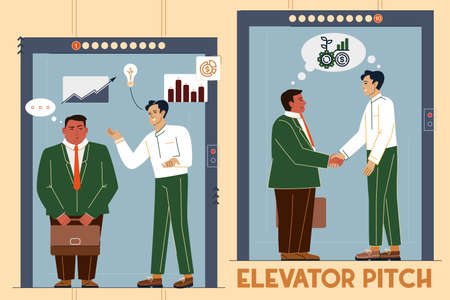 Vector illustration of an elevator pitch, a short description of an idea, product, or company