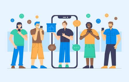 Vector illustration of social media influencer marketing 矢量图像
