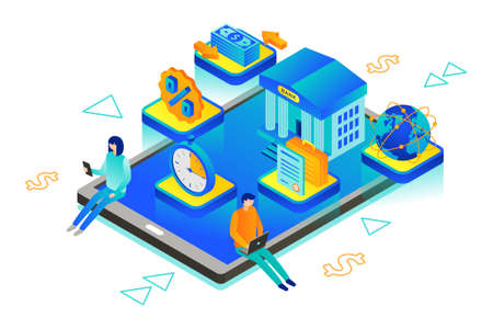 Isometric vector illustration of neobank also known as an virtual bank or digital bank Ilustracja