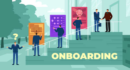 Vector illustration of the onboarding process following candidate selection