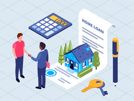 Isometric vector illustration of sale and purchase of real estate