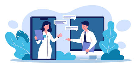 Vector illustration of a video conferencing of medical personnel