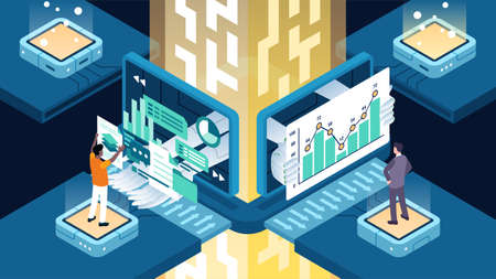 Isometric vector illustration of business process automation BPA 向量圖像