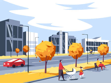 Vector illustration of a small city landscape