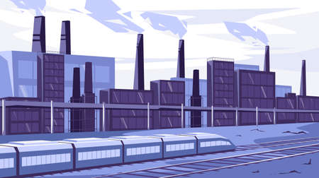Vector illustration of an industrial landscape, a train is moving along the railway