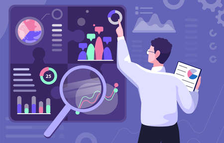 Vector illustration of a male business analyst