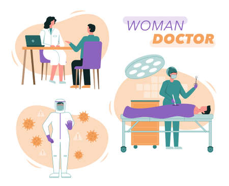 Vector illustration of female doctors and nurses