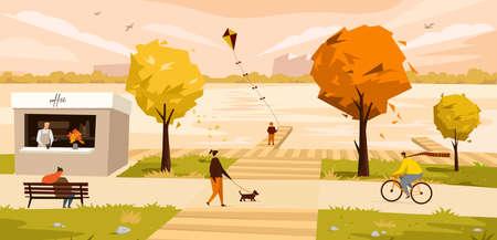 Vector illustration of a autumn city landscape 向量圖像