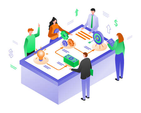 Isometric vector illustration of drawing up a business plan
