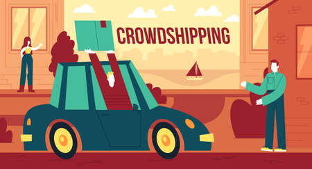 Vector illustration of rowdshipping, the personalized delivery of freight Ilustracja