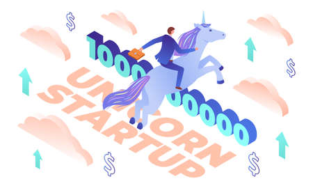 Funny isometric vector illustration of unicorn startup