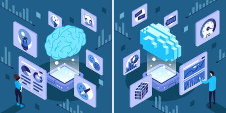 Isometric vector illustration of Artificial Intelligence vs Human Intelligence