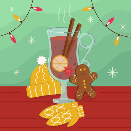 Vector illustration of a hot mulled wine