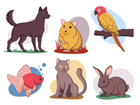 Funny pets vector illustrations set and other home animals