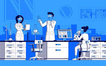 Scientific laboratory illustration in line art vector