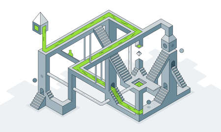Vector illustration an optical maze of stairs Ilustracja