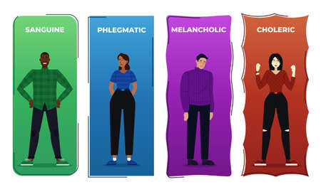 Vector illustration the four human temperaments, and phlegmatic Ilustracja