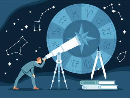Vector illustration of modern astrologer making horoscopes Ilustracja