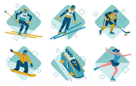 The winter sports vector illustrations set bobsleigh