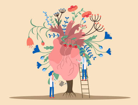 Vector illustration an abstract human heart, funny tiny persons