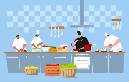 Vector illustration of the cooking in a kitchen