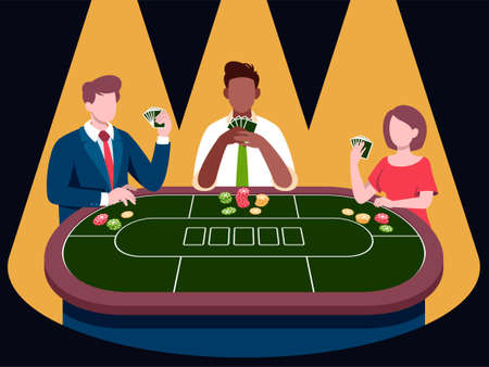 Poker player tournament illustrations in flat vector