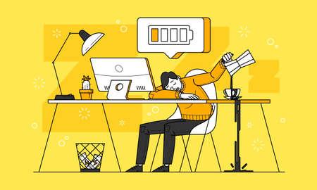 Chronic fatigue illustration in line art vector Ilustracja
