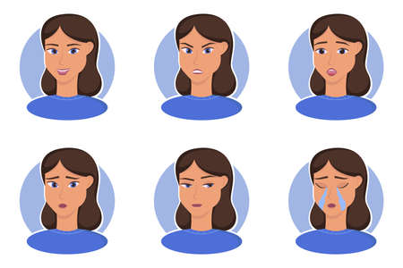 The human emotions vector illustrations set and others Ilustracja