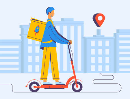 Courier delivery, illustrations in flat vector and the covid-19