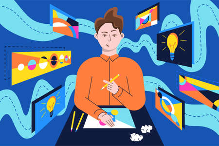 Creativity process, illustrations in flat vector and somehow valuable is formed