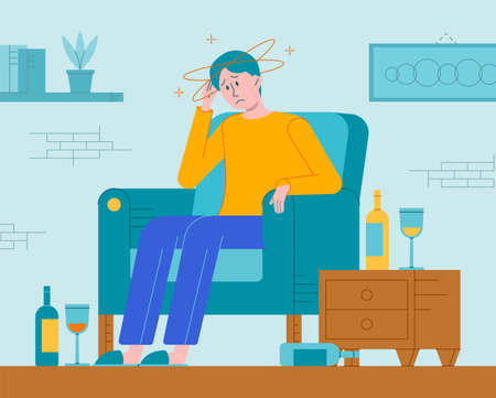 Vector flat illustration of a alcohol hangover