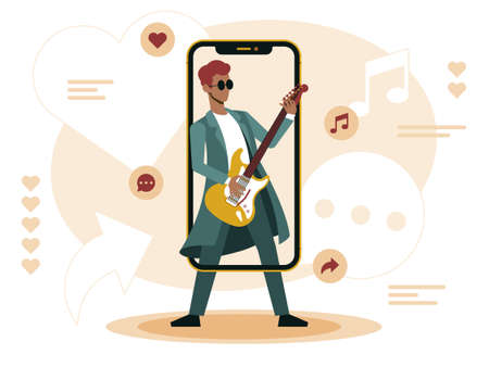 Influencer rockstar, illustrations in flat vector for his followers