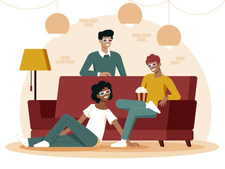 Colourful flat illustration of best friends sitting on the couch eating popcorn