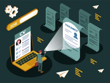 Colourful illustration of a job search vacancies Ilustracja